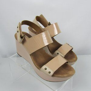 Clarks Tan Patent Leather Wedge Heel Sandals Sz 9M